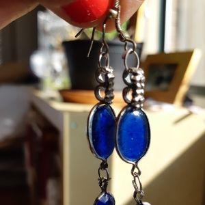 Blue stone drop earrings